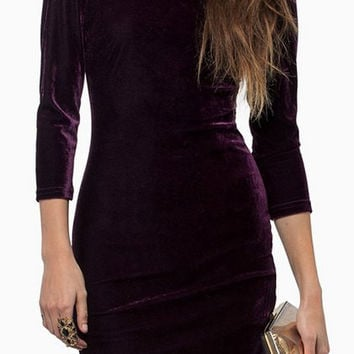 Purple Retro Style Backless Dress
