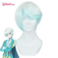 L-email wig New Arrival Anime Tales of Zestiria the X Men Cosplay Wigs Mikleo White Blue Short Wig Synthetic Hair Peruca Men Wig