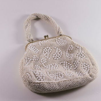 Vintage 1960s White Beaded Handbag Purse made in Hong Kong