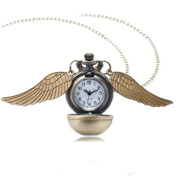 Harry Potter Theme Golden Ball with Wings Design Quartz Pocket Watch With Swaeter Necklace Chain Best Gift For Children