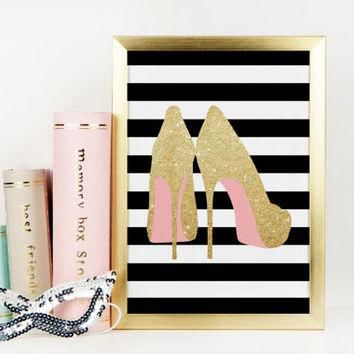 GOLD SHOES PRINT,Light Glitter,High Heels,Fashion Print,Pink Color,Pink Shoes,Fashioni
