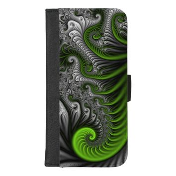 Fantasy World Green And Gray Abstract Fractal Art iPhone 8/7 Plus Wallet Case