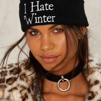 Jac Vanek I Hate Winter Embroidered Beanie