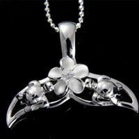 SILVER 925 HAWAIIAN WHALE TAIL SEA TURTLE PLUMERIA FLOWER SLIDE PENDANT CZ
