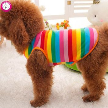 Rainbow Pet Puppy Waistcoat Clothes High Quality Cotton Summer Dog Vest Cute Colorful Dog T Shirts