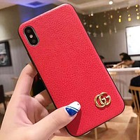 GUCCI Fashion New Leather Couple Personality Phone Case Protective Cover Red