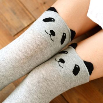 Adorable Panda Bear Animal Themed Over the Knee Thigh High Cotton Socks in Light Grey