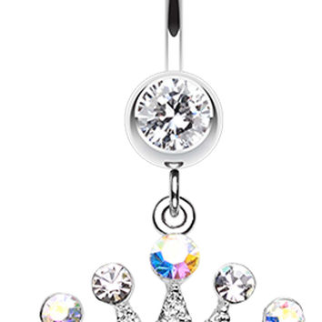 Crown Jewel Multi-Glass-Gem Belly Button Ring