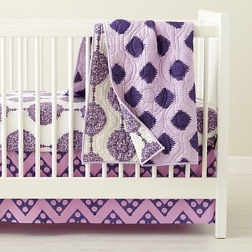 Baby Crib Bedding: Baby Purple Patterened Crib Bedding Set | The Land of Nod