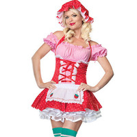 Sexy Lovely Pink And Red Lint Lycra Grenadine With Cap And Thong Maid Costume [TML0855] - $45.00 : Zentai, Sexy Lingerie, Zentai Suit, Chemise