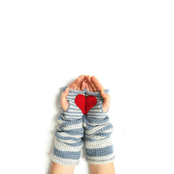 Pippi's Gave You My Heart Wrist Warmers, Crochet Fingerless Gloves, Denim, Soft Grey, Stripe, Christmas, Valentines, Gift for Her, Warm