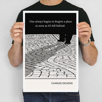 Illustration, Charles Dickens Quote, Fine Art Print, Art Poster, Street Drawing, Travel Art, Paris Street, Traveler Gtift, Wall Art