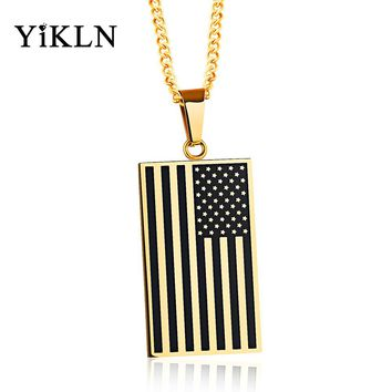 YiKLN New 316L Stainless Steel American Flag Army Card Pendant Necklace Silver & Gold Color Women Men Neckalce Jewelry YGX1147
