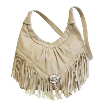 Womens Shoulder Handbag Fringe Hobo Bag Light Soft Genuine Leather Purse Beige