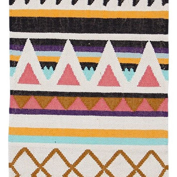 2.6' x 5' Handmade Nordic Kilim Geometric Cotton Area Rug - Black | Gold | Purple | Pink