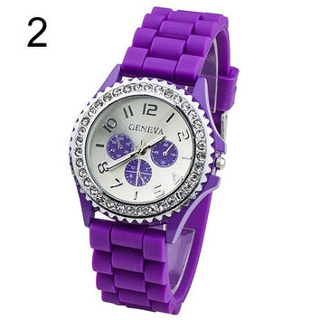 Classics Men's Women's Girl's 3 Eyes Crystals Gemstones Rubber Silicone Gel Jelly Watch,unisex watch UNS = 1956867716