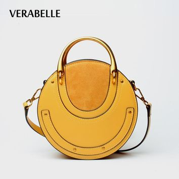 VERABELLE 2017 smiling face European style barrel-shape handbag casual vintage shoulder women purse messenger female bag