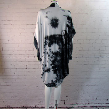 Yin Yang Tie Dye Kimono Cardigan Jacket Swimsuit Cocoon Cover Up Boho Beach festival coachella