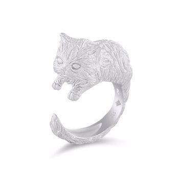 Persian Cat Diamond Silver Ring