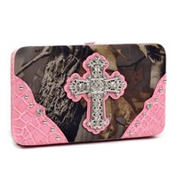 Realtree Camouflage Extra Deep Frame Wallet Purse w/ Rhinestone Cross -Camo/Pink