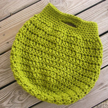 Hand Crocheted Bag - The Boardwalk Tote Bag in Lime Green