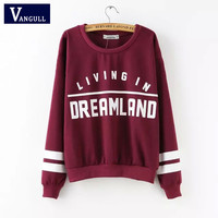 Sping Kawaii Pullovers 2016 High Street Autumn Women Casual Tops Long Sleeve Wine Red Round Neck Letters Print Women Sweatshirt