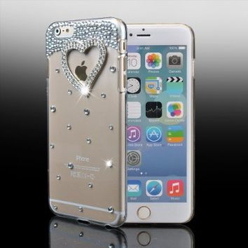 "For iPhone 6s Plus Case,IC ICLOVER Perfect-Fit iPhone 6/6s Plus 5.5 Case, 3D Crystal Rhinestone Diamond Bling Bumper Skin Case Glitter Hard Case Cover For 5.5"" iPhone 6/6s Plus -Heart"