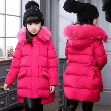 Fashion Girl's down Jackets Coats warm Kids baby thick duck Down jacket Children down Outerwear jacket