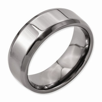 Titanium Brushed Beveled Wedding Band