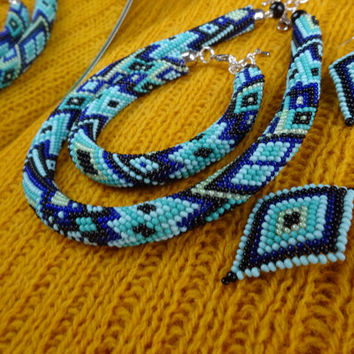Beaded rope set Turquoise-Indigo pattern (necklace, bracelet, earrings), fancy crochet set, oriental set,  trendy set, modern set