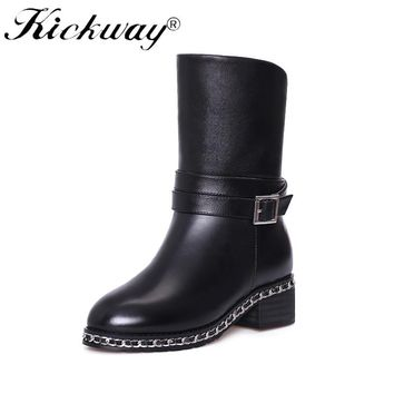 Kickway Women Snow Boots Winter waterproof Square Heels Round toe Platform Shoes shearling real fur warm winter shoes size 45 46