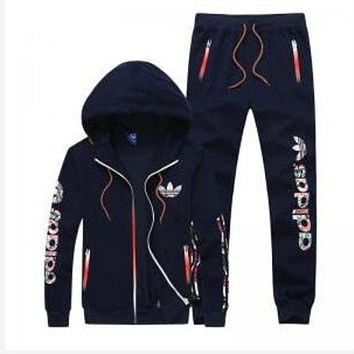DCCKJ1A Adidas men and women tide brand casual fashion suits Dark blue