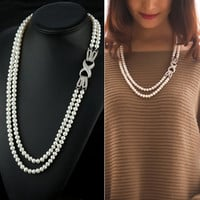 Gift New Arrival Stylish Shiny Jewelry 925 Silver Pearls Sweater Chain Accessory Necklace [4914848260]