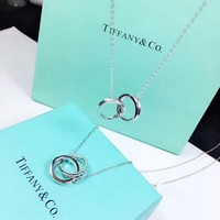 Tiffany & Co New fashion two circle women sterling silver necklace Silver