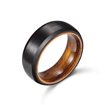 Mens or Ladies Black Tungsten & Barrel Wood Wedding Band Ring