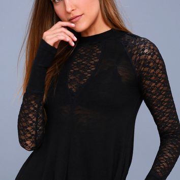 No Limits Black Lace Long Sleeve Top