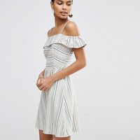 ASOS Cold Shoulder Sundress in Natural Stripe at asos.com