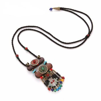 New Boho Long Wood Black Beads Pendant Necklaces- Tibetan/Bohemian