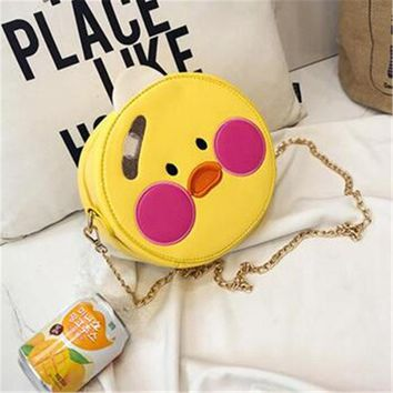 Anime Backpack School kawaii cute Pink Panther Little Yellow Duck Brossbody Bag Funny Personality Fashion Woman PU Shoulder Bags Lovely Naughty Style Bag AT_60_4