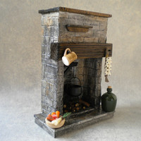 DollHouse Miniature Handmade Fireplace Stone - Tudor / Medieval / Cottage