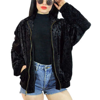 vintage 90s black velvet jacket zip up soft grunge slouchy velvet burnout track jacket bomber gothic minimailst medium large