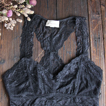 Racerback Lace Bralette in Black