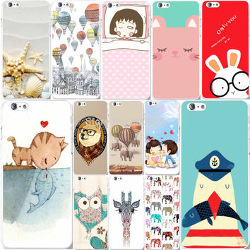 Love Patterns Cute Animals Painted Back Cases Cover For Apple iphone 6 6s fundas Hard PC Mobile phone Cases Bags WHD1118 21-40
