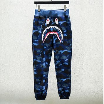 Bape Aape Fashion new shark print camouflage couple leisure loose pants trousers Blue
