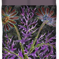 Psychedelic Blooming Flowers Duvet Cover