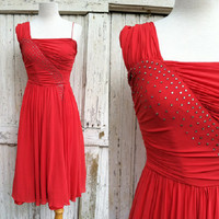 1950s Ruby Red Silk Chiffon Dress / Ruched Assymetric Cocktail Dress / Party Dress / Needs Restoration