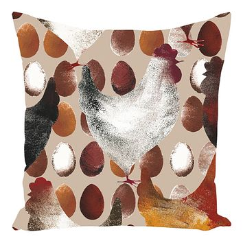 Chicken And Eggs Farm Design Throw Pillow Farm Decor
