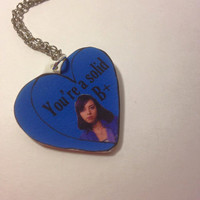 "Aubrey Plaza ""You're a Solid B+"" Parks and Recreation Quote Acrylic Charm 18 Inch Silver Necklace"