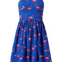 Blue Flamingo Print Bandeau Skater Dress