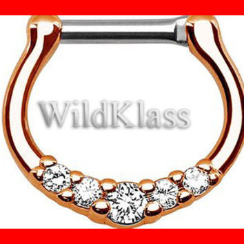 Rose Gold Five-Gems 316L Surgical Steel Septum Clicker Ring 16g Earring 14g Cartilage Piercing Tragus Ring Helix Conch Nose Septum Ring